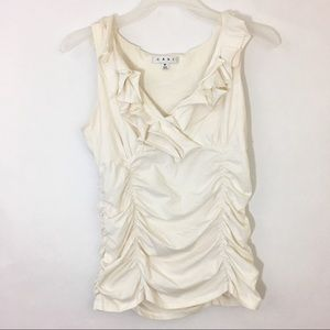 Cabi Cream Ruched Tank Top EUC